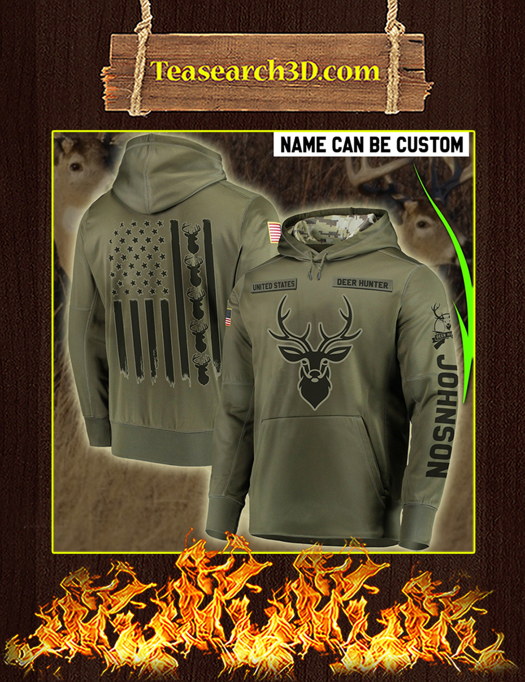 Personalized Custom Name Deer Hunter All Over Printed 3D Hoodie Size L