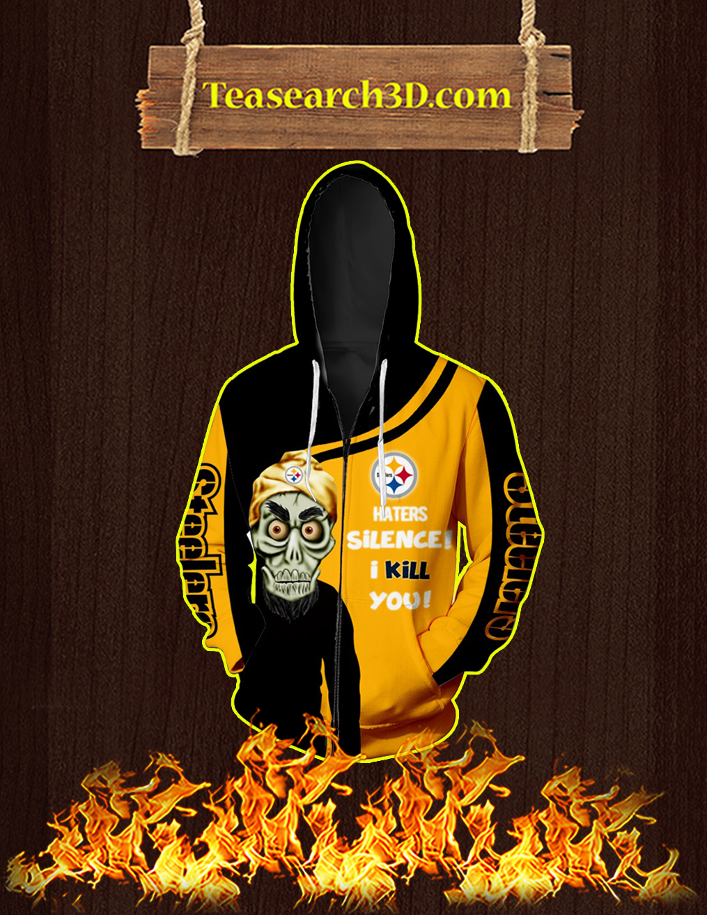 Pittsburgh Steelers Achmed All Over Print 3D Zip Hoodie