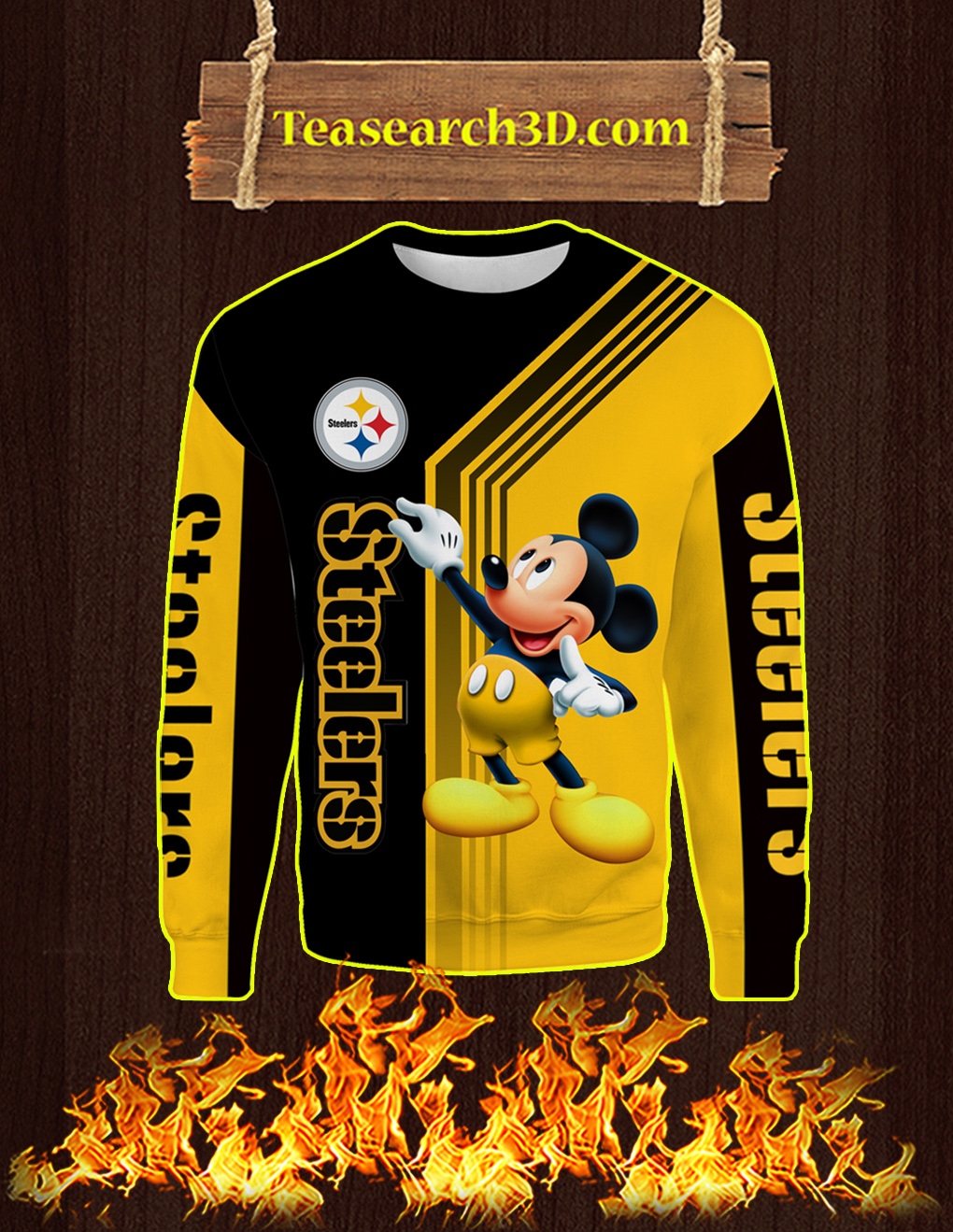 Pittsburgh Steelers Mickey Mouse All Over Print 3D Sweatshirt