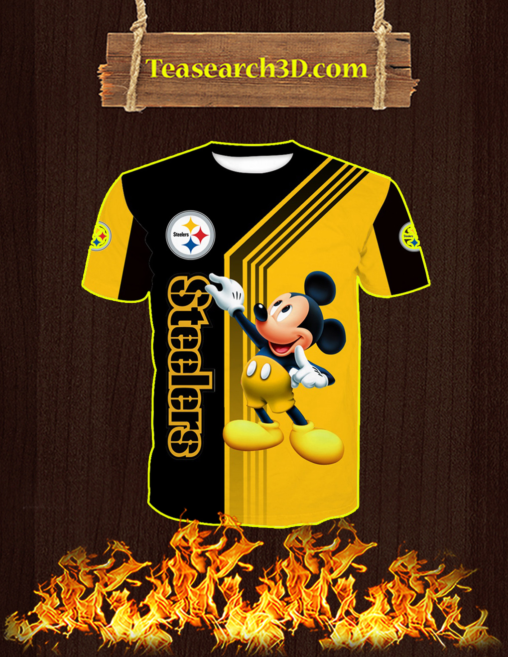 Pittsburgh Steelers Mickey Mouse All Over Print 3D T-shirt