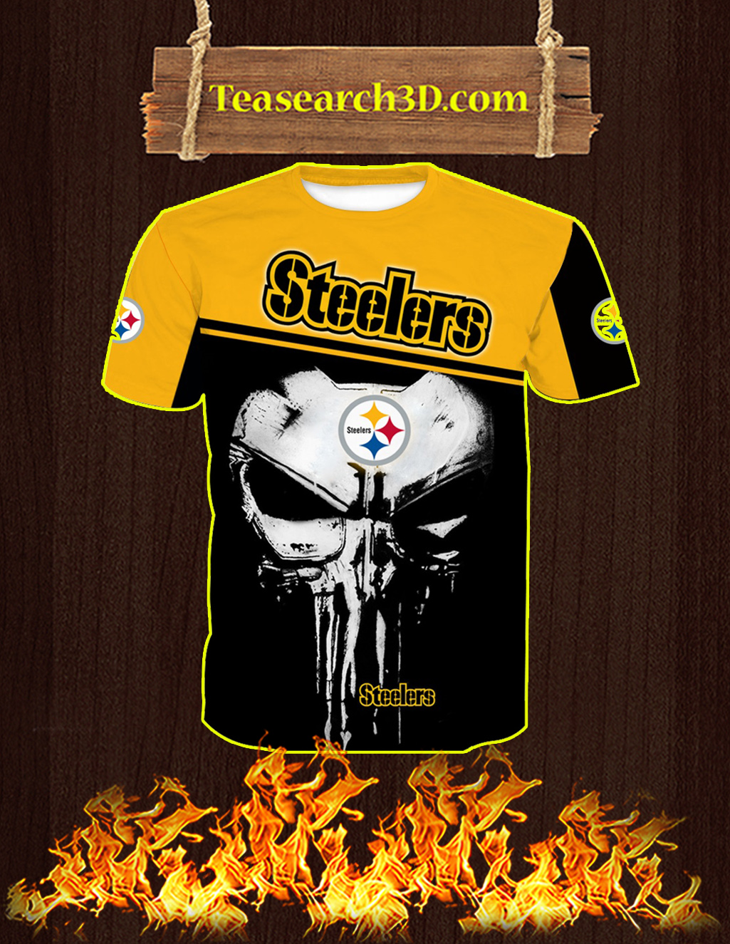 Pittsburgh Steelers Punisher Skull All Over Print 3D T-shirt