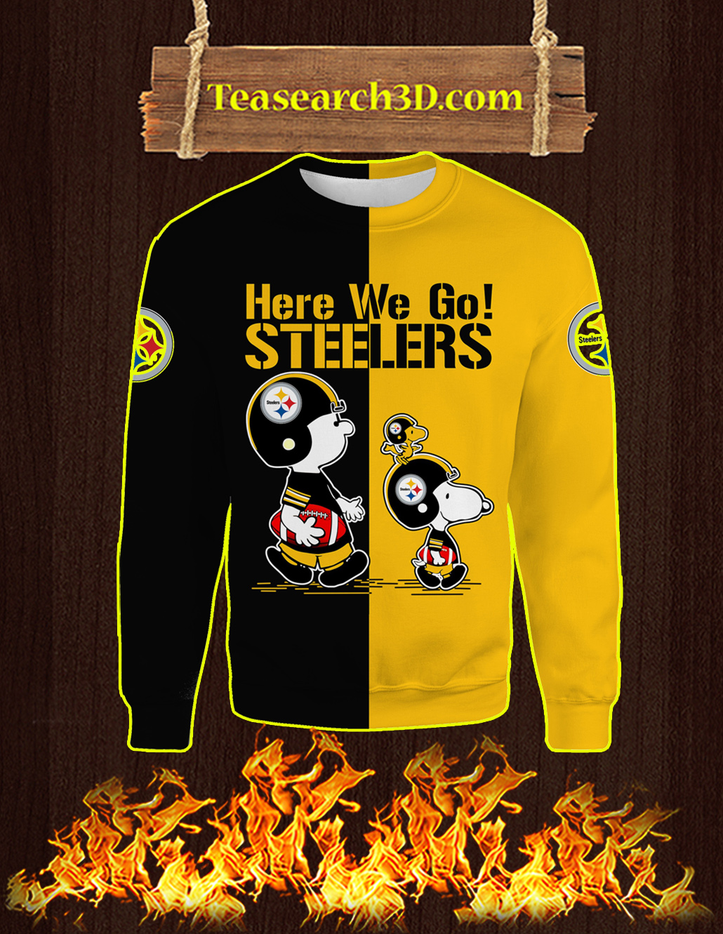 Pittsburgh Steelers Snoopy and Charlie Brown All Over Print 3D Sweatshirt
