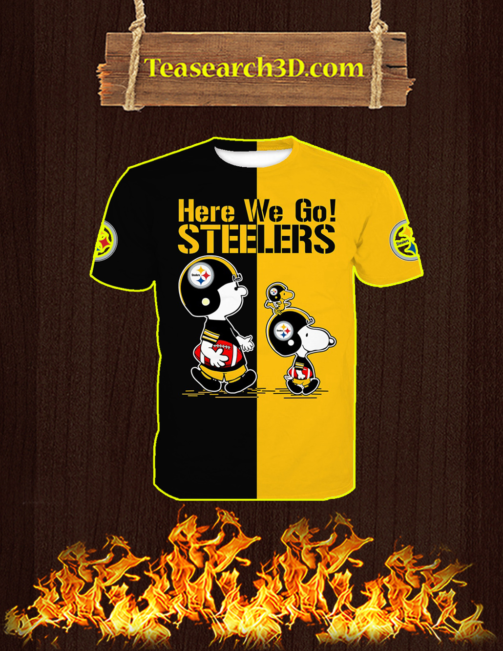Pittsburgh Steelers Snoopy and Charlie Brown All Over Print 3D T-shirt