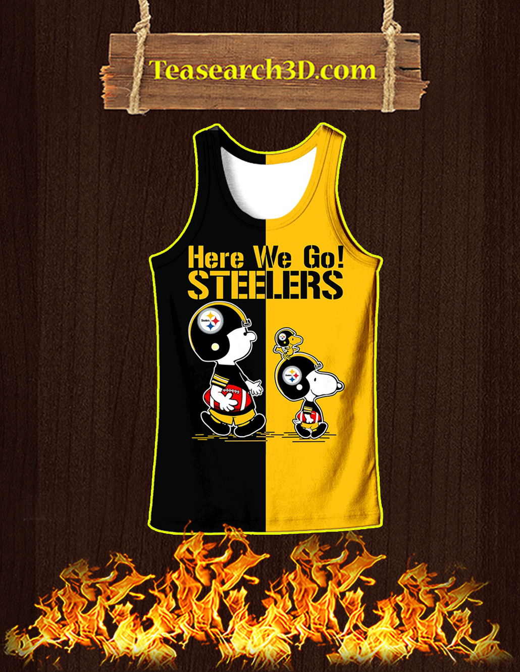 Pittsburgh Steelers Snoopy and Charlie Brown All Over Print 3D Tank top