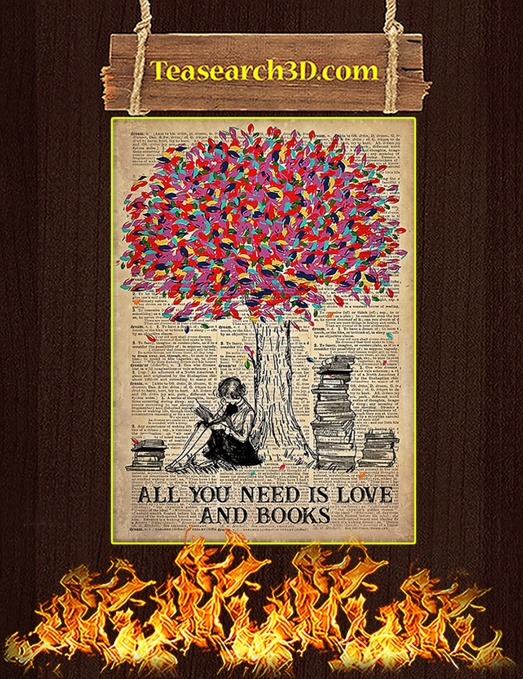 Poster All You Need Is Love And Books A1