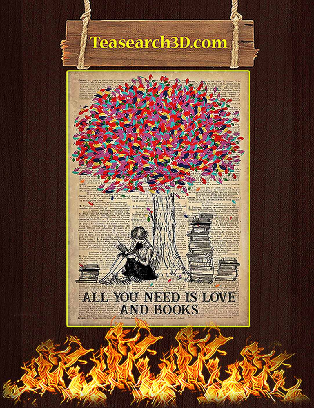 Poster All You Need Is Love And Books A2