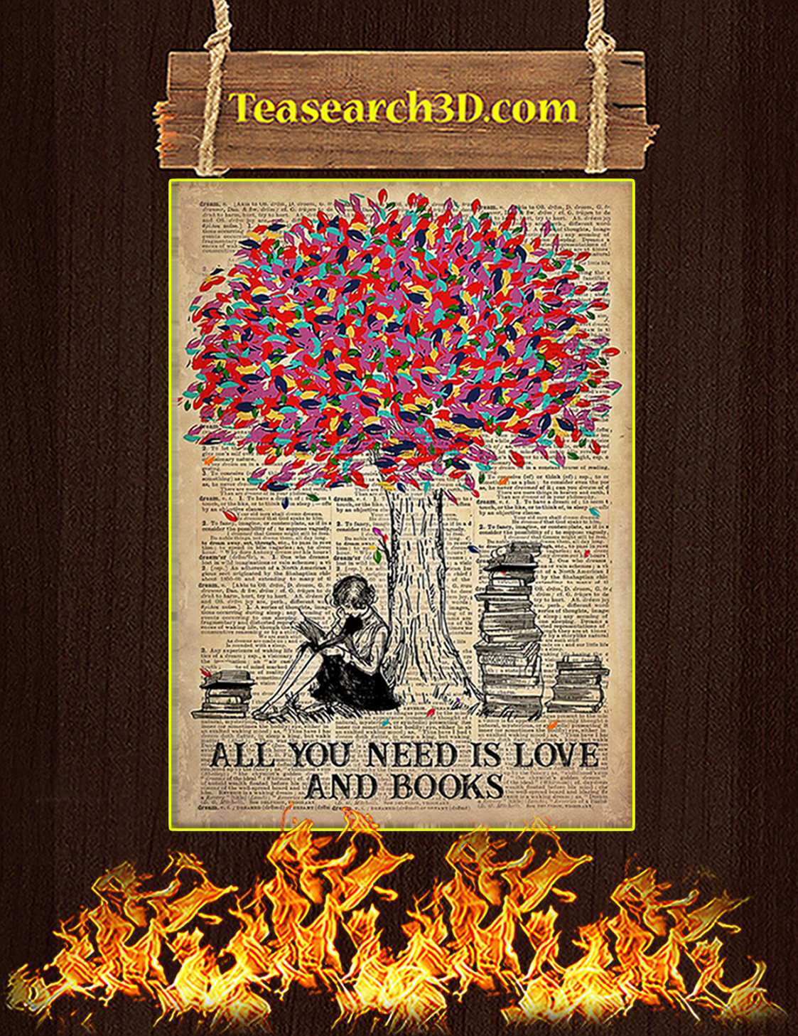 Poster All You Need Is Love And Books A3