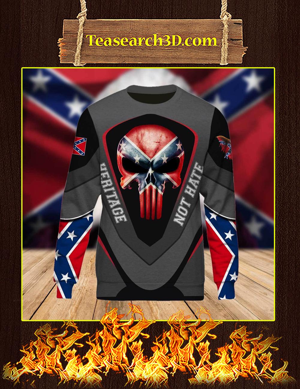 Redneck Punisher Skull Heritage Not Hate 3d Long-sleeved front