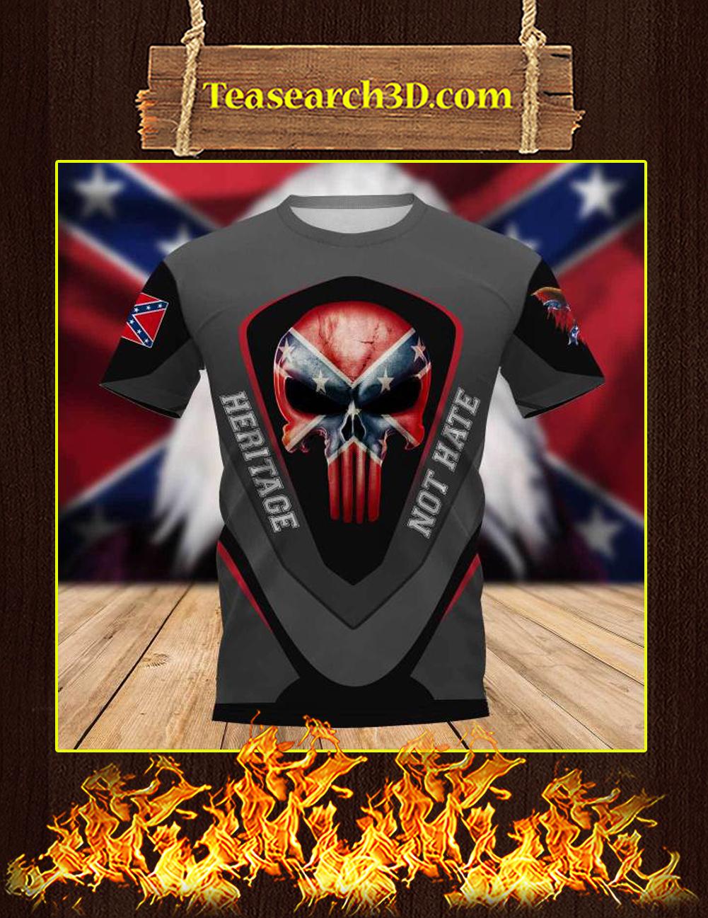 Redneck Punisher Skull Heritage Not Hate 3d t-shirt