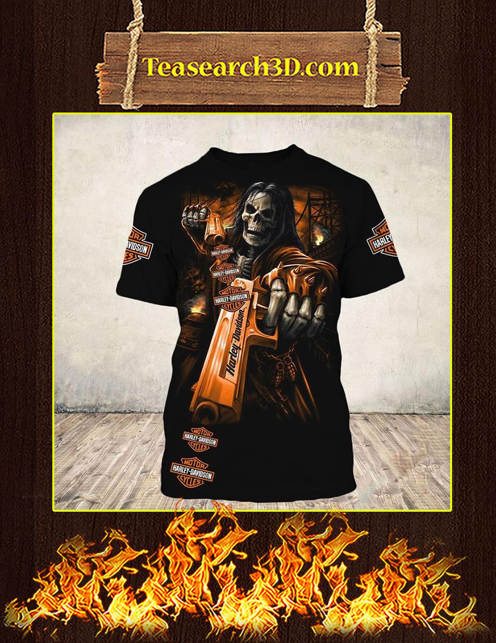 Skull Gun Harley Davidson Horror 3d T-shirt front