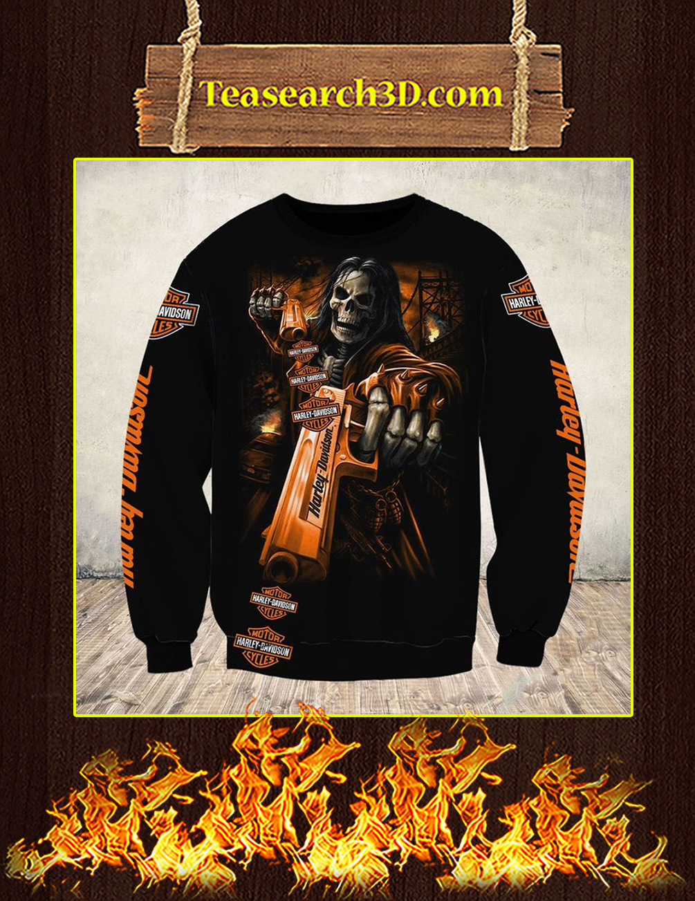 Skull Gun Harley Davidson Horror 3d sweatshirt