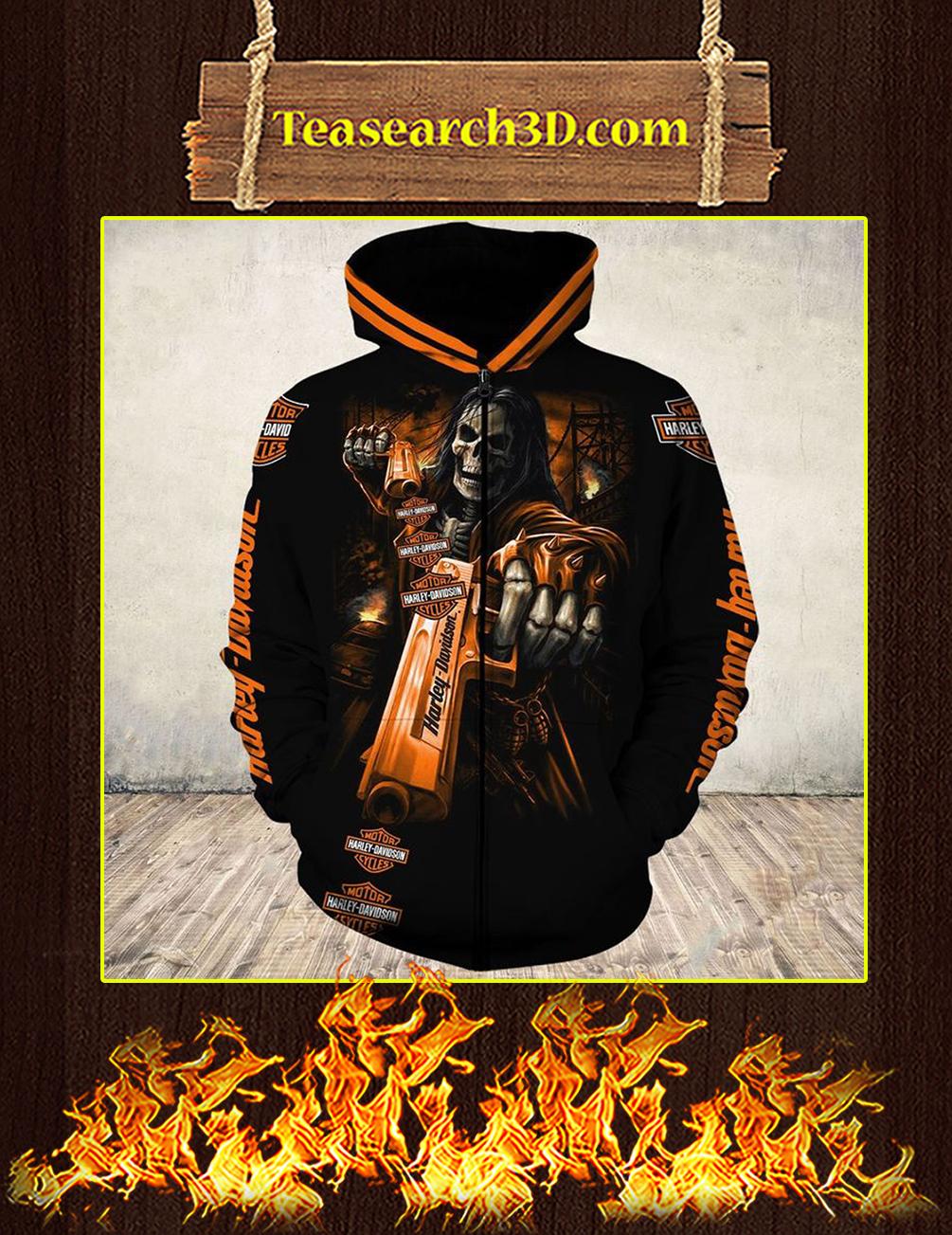 Skull Gun Harley Davidson Horror 3d zip hoodie