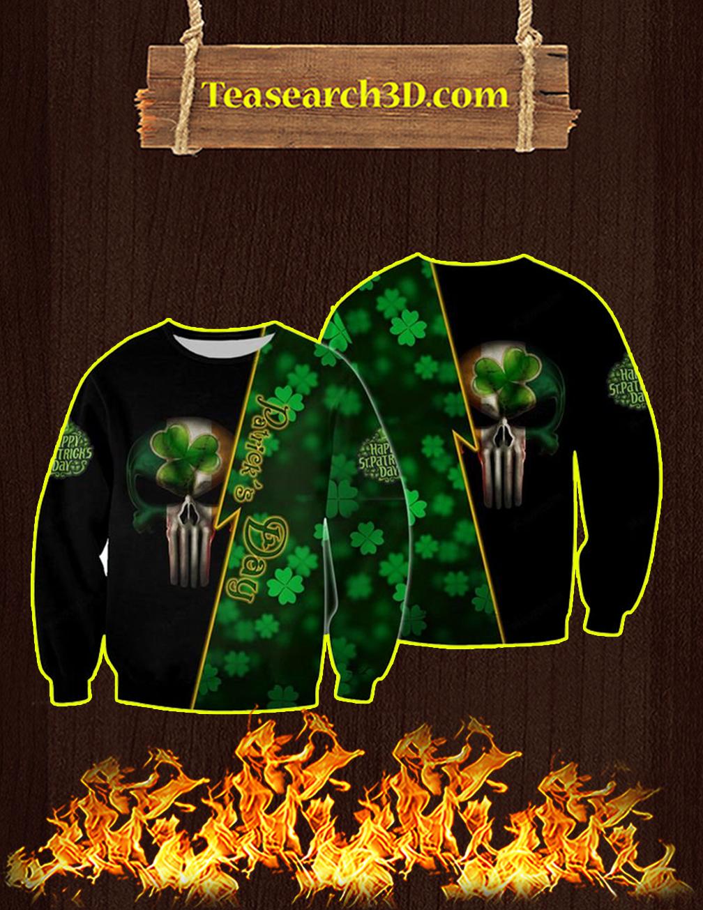 St Patrick's Day Punisher Skull Irish 3d Sweatshirt