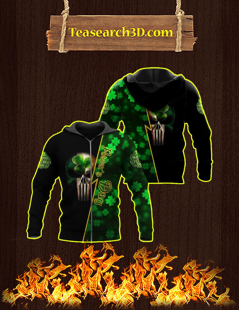 St Patrick's Day Punisher Skull Irish 3d Zip hoodie