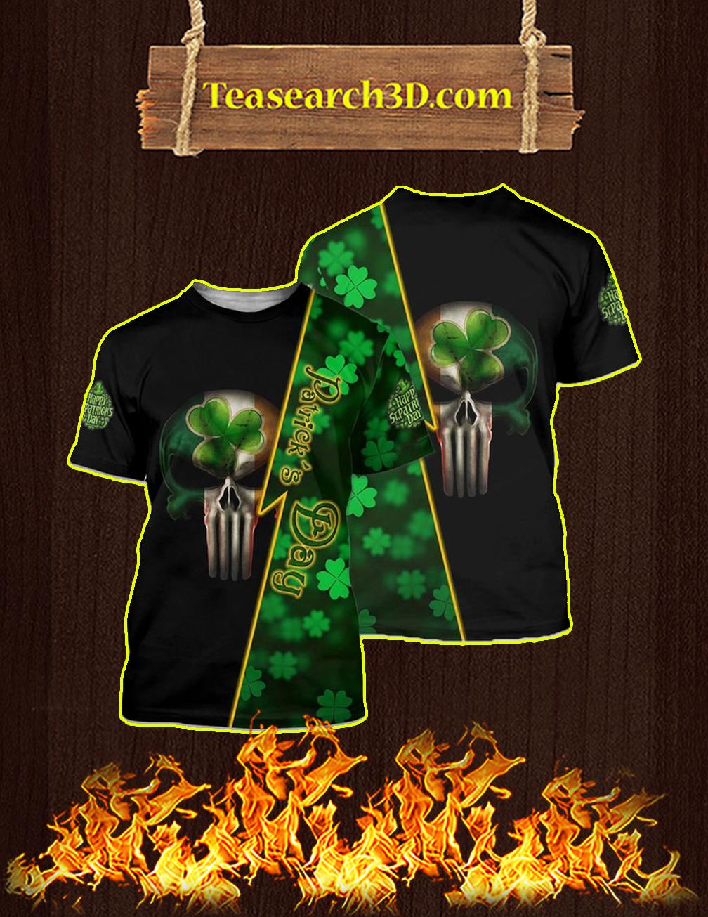 St Patrick's Day Punisher Skull Irish 3d shirt
