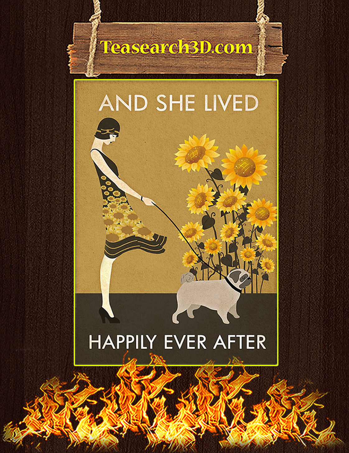 Sunflower Vintage Girl Pug And She Lived Happily Ever After Poster A3