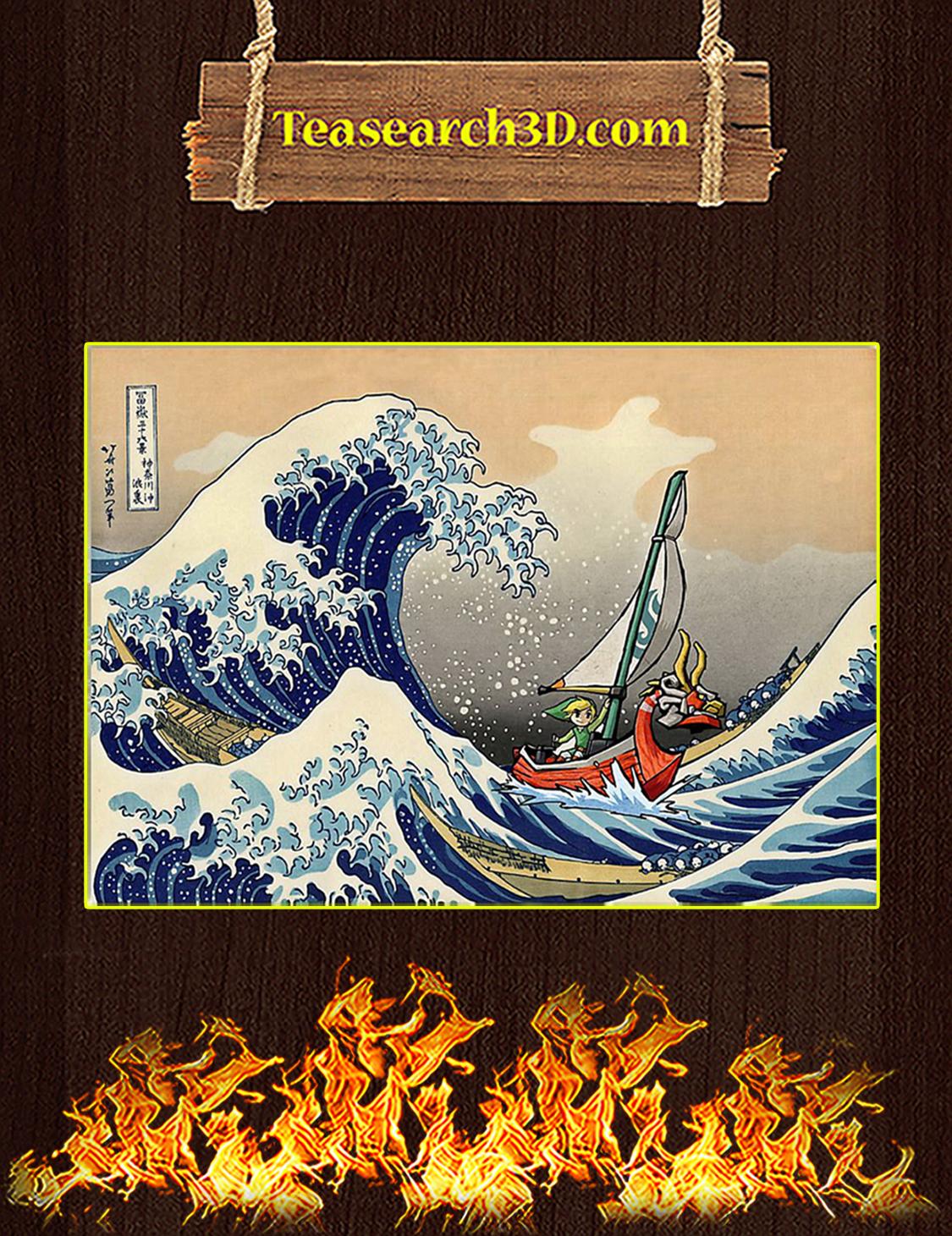 The Great Wave off Kanagawa Link Zelda Poster A3