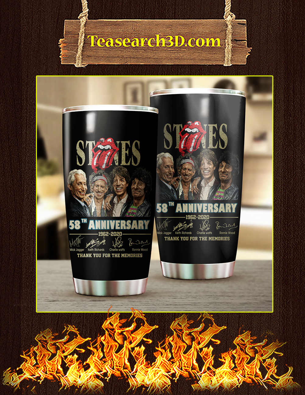 The Rolling Stones 58th Anniversary Stainless Steel Tumbler 20oz