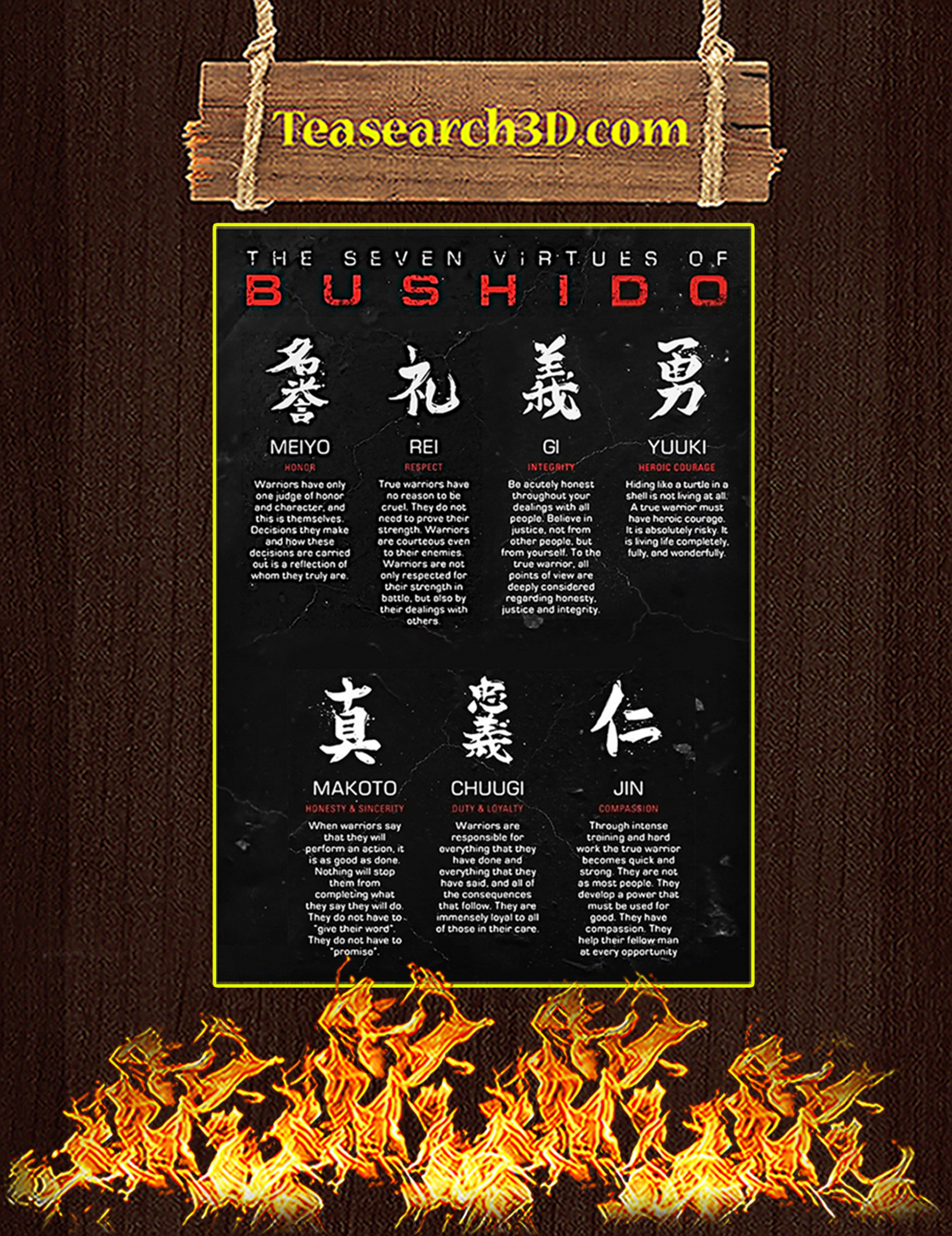 The Seven Virtues Of Bushido Samurai Poster A3