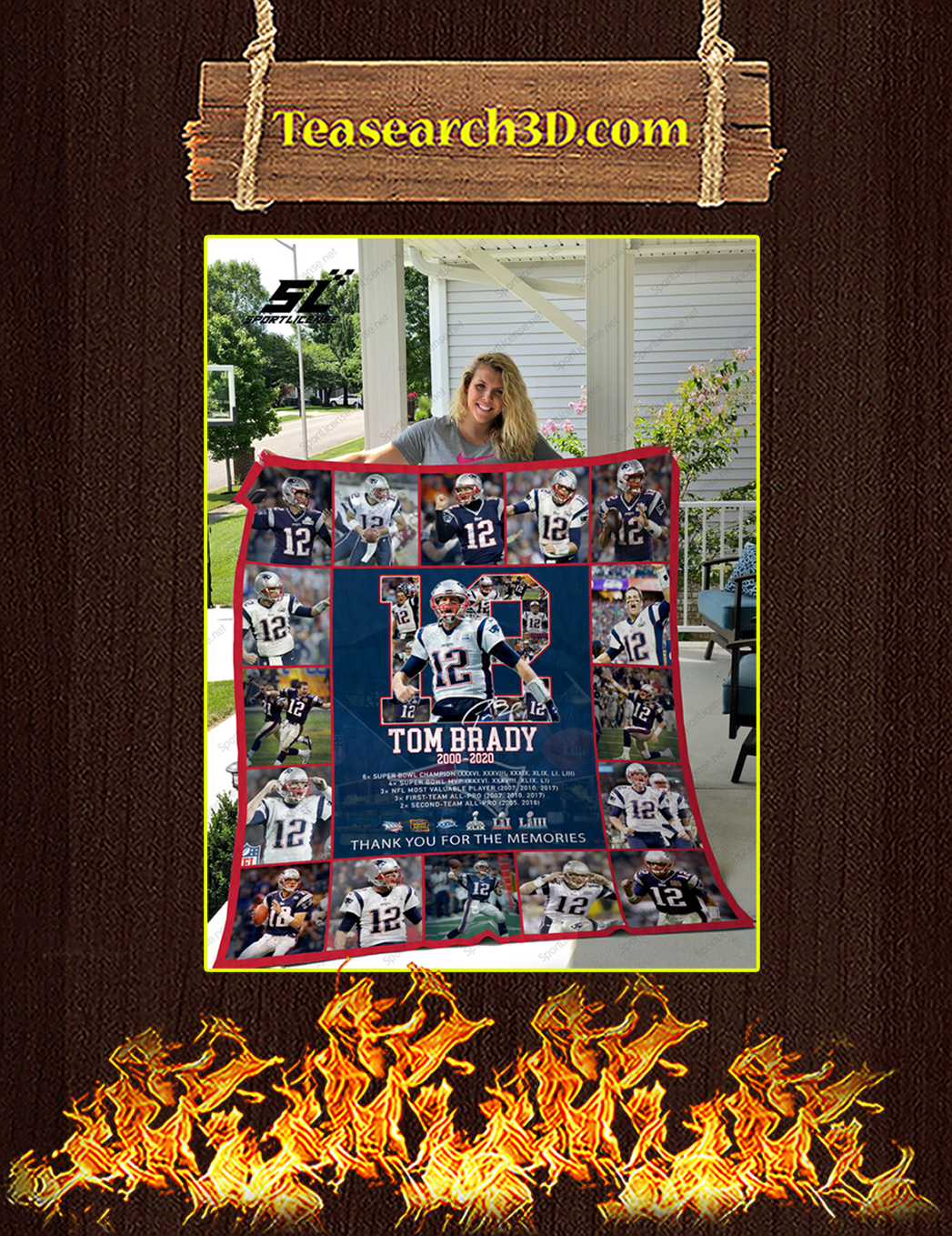 Tom Brady 12 Thank You For The Memories Quilt Blanket Single