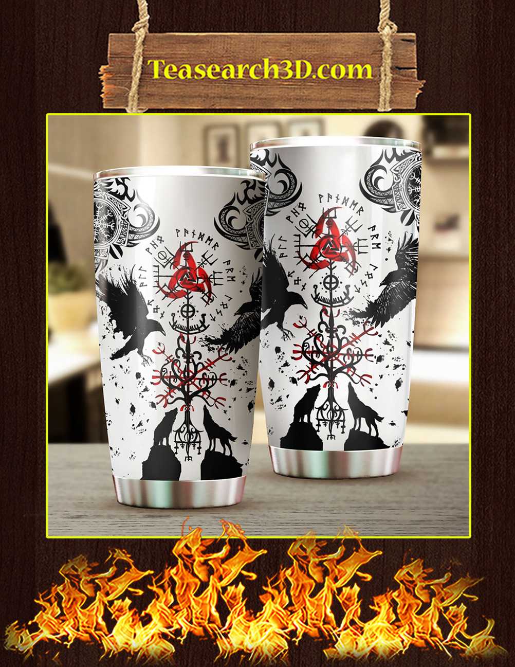 Vikings Tattoo Steel Tumbler Pic 1