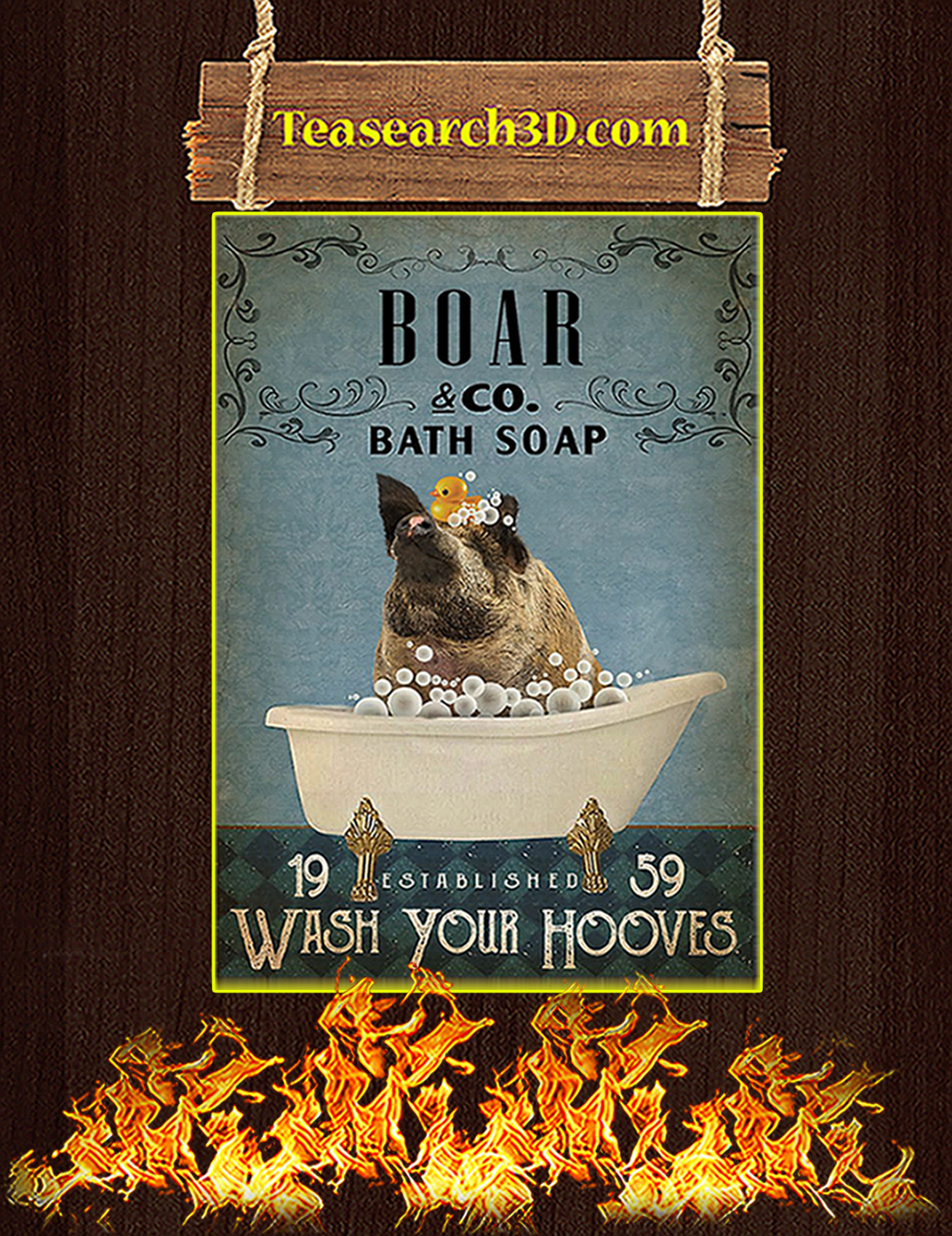 Vintage Bath Soap Boar Poster A3