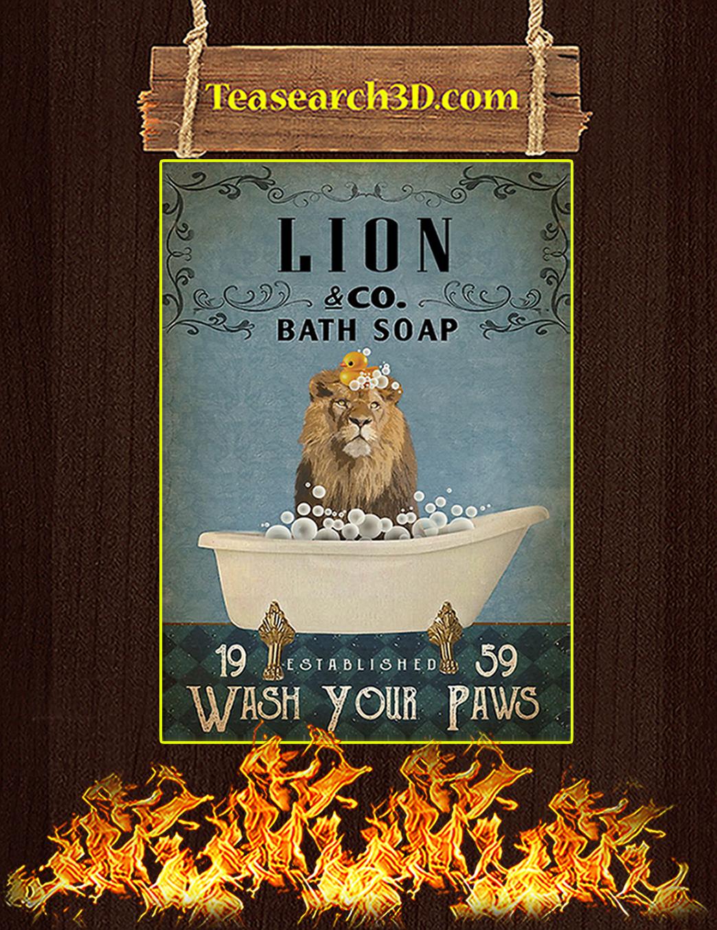 Vintage Bath Soap Lion Poster A1