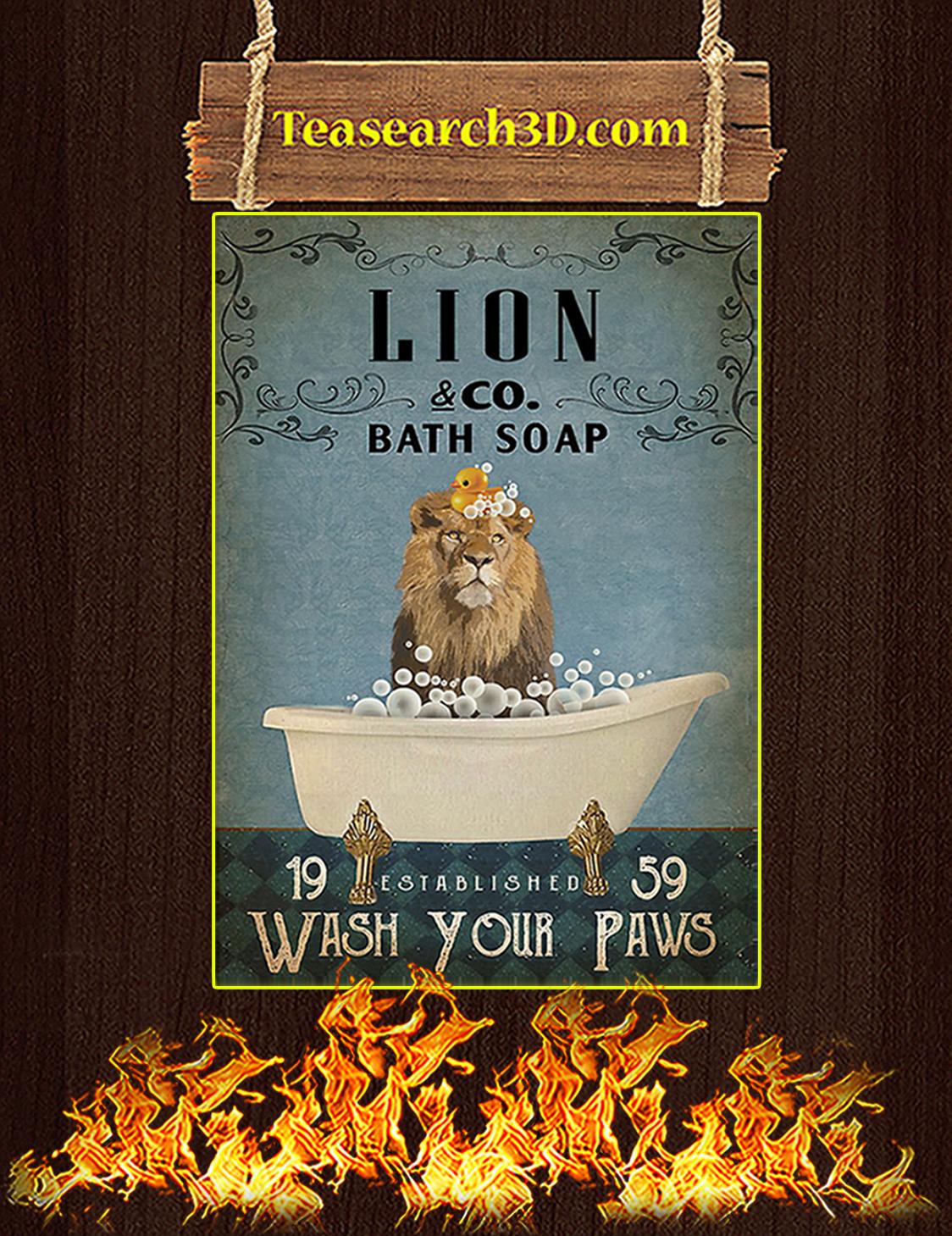 Vintage Bath Soap Lion Poster A3