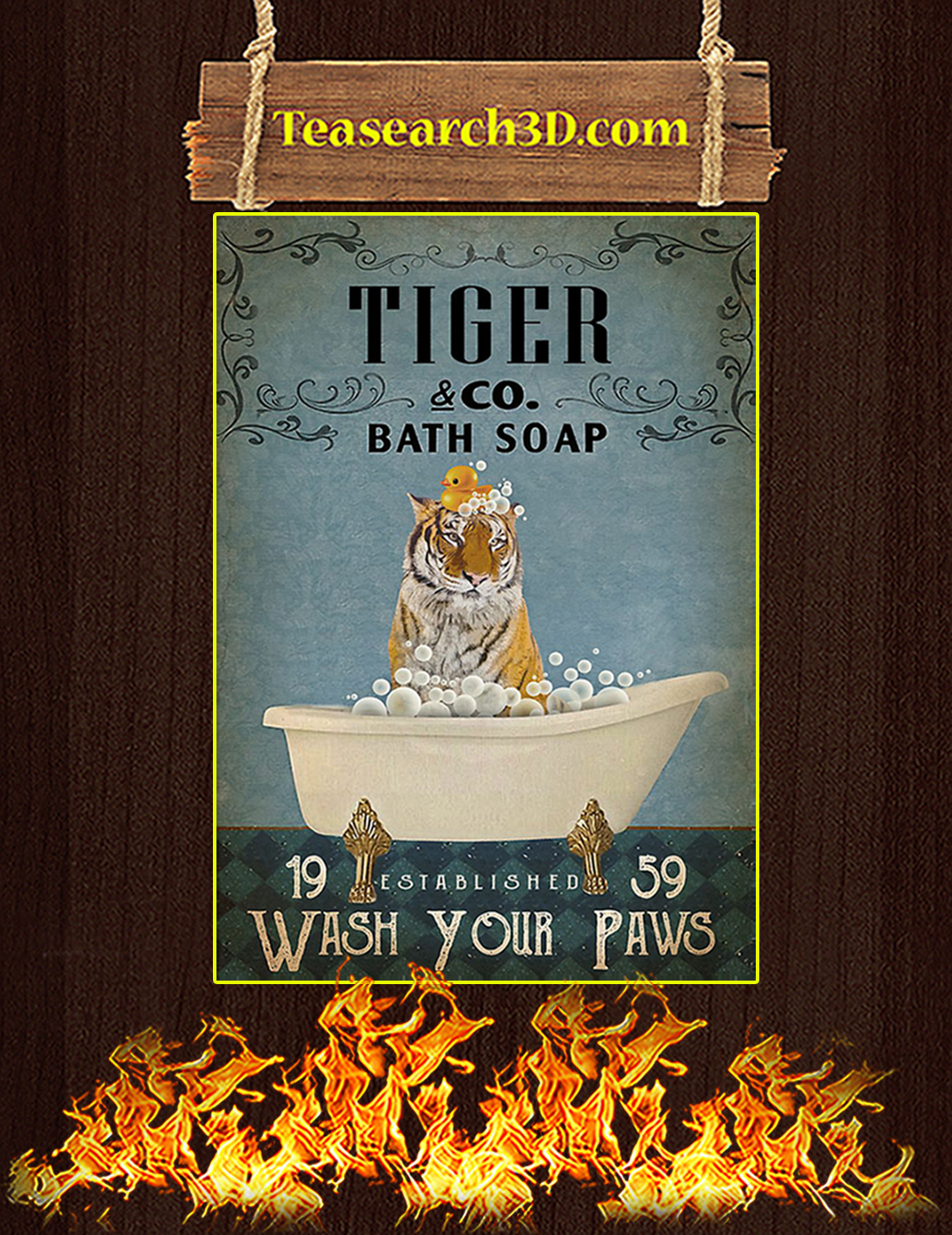 Vintage Bath Soap Tiger Poster A3