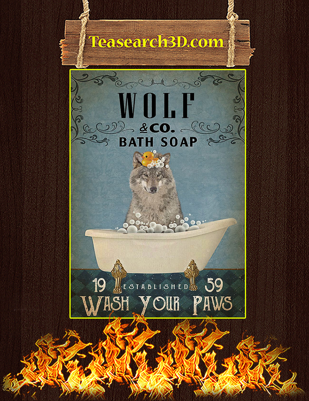 Vintage Bath Soap Wolf Poster A1