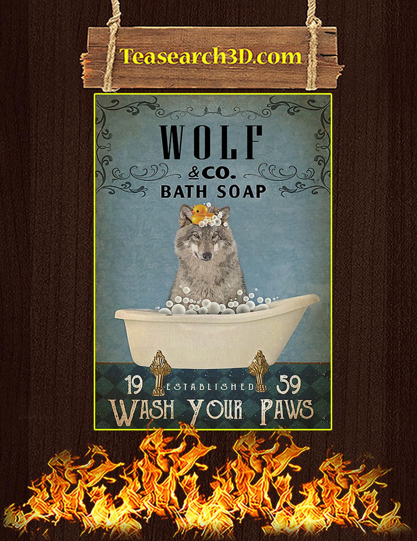 Vintage Bath Soap Wolf Poster A3