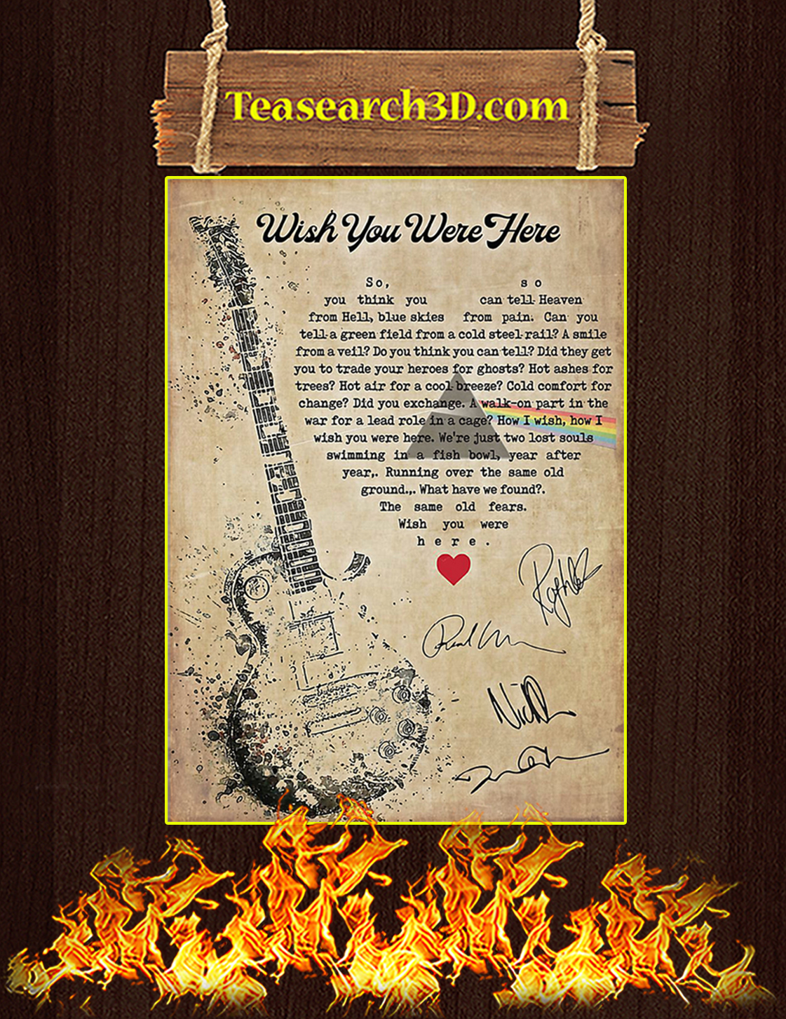 Wish you were here signature poster A3