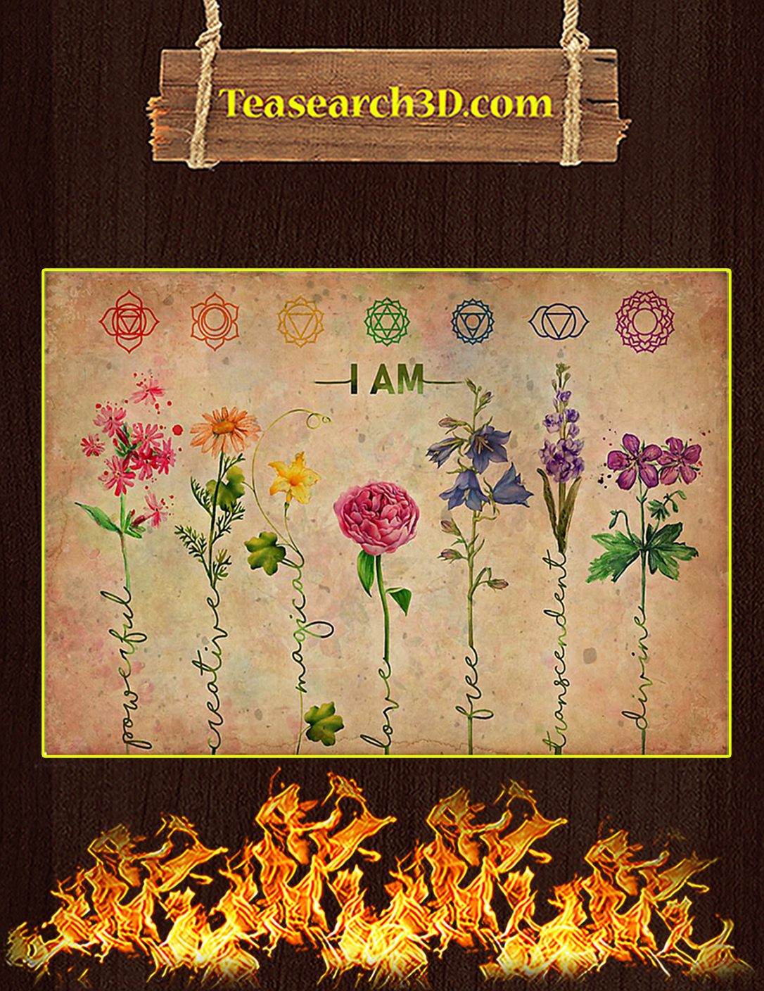 Yoga I Am Powerful Flower Poster A2