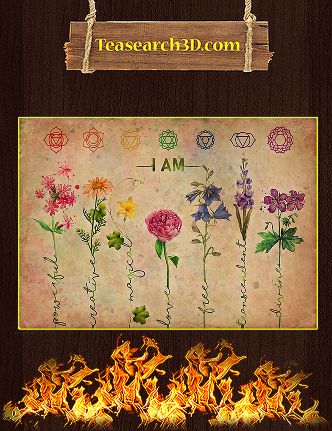 Yoga I Am Powerful Flower Poster A3