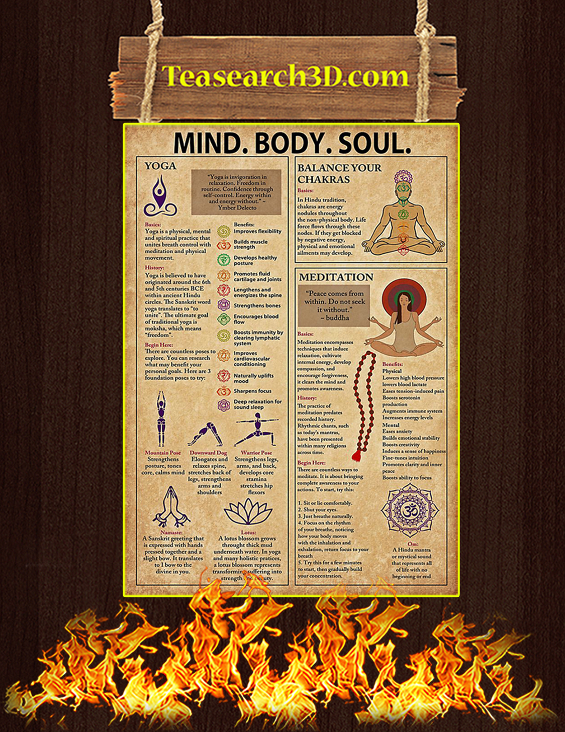 Yoga Mind Body Soul Poster A3