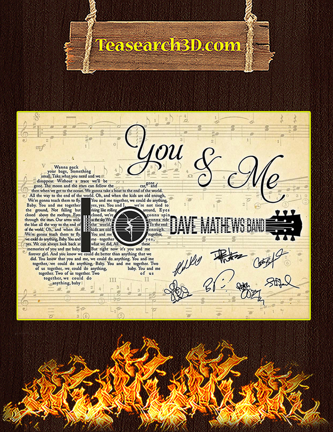 You And Me Dave Matthews Band Guitar Poster A3