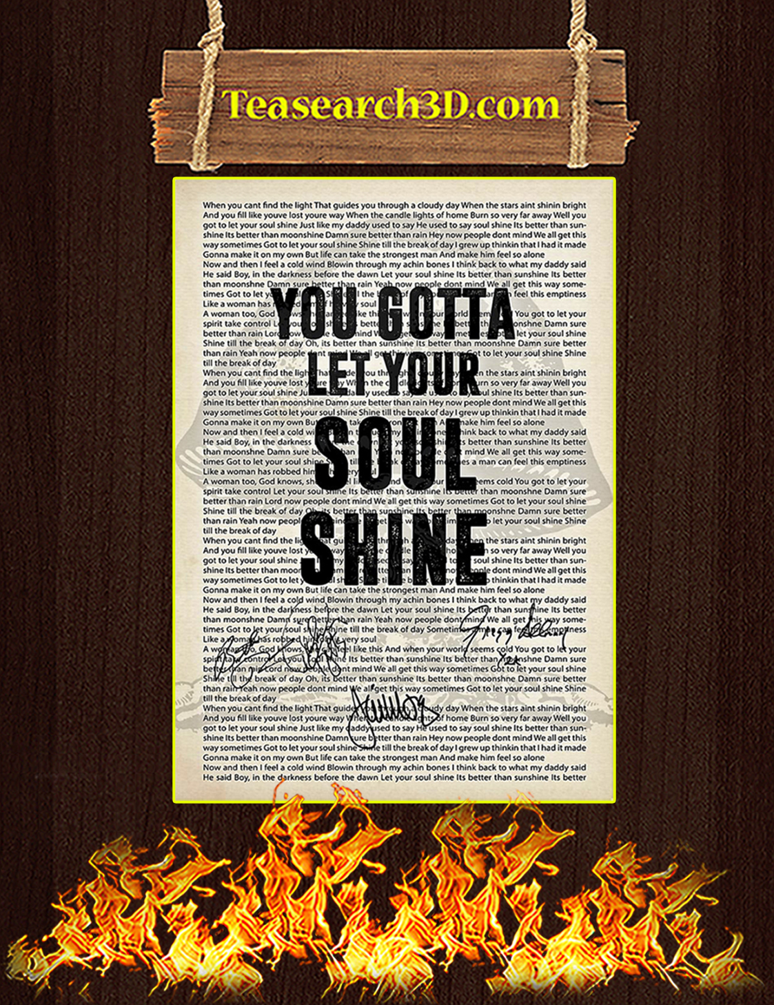 You Gotta Let Your Soul Shine Signature Poster A3