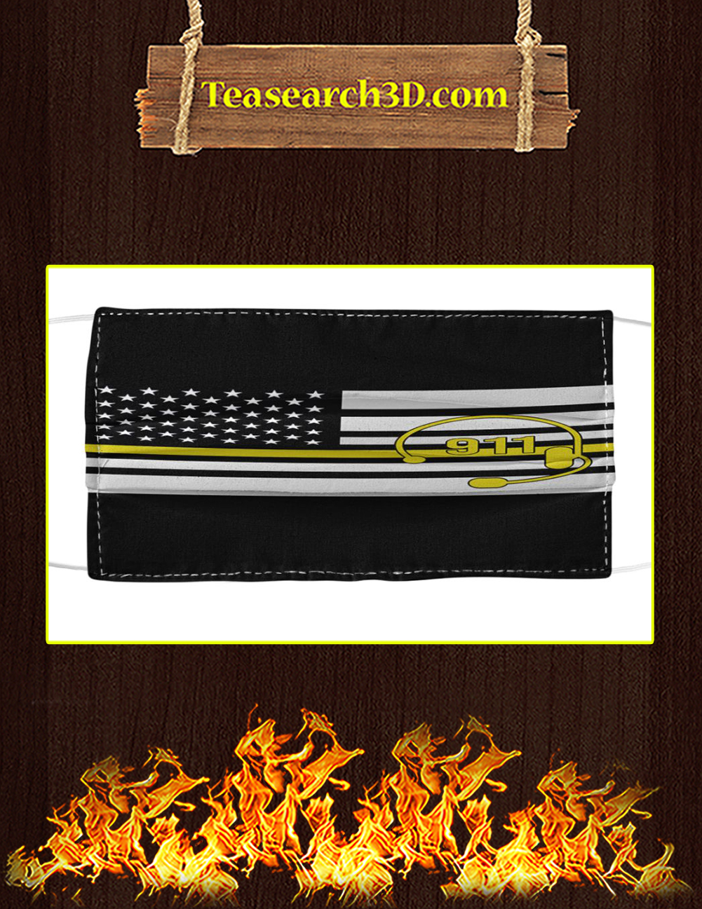 911 yellow line flag cloth face mask