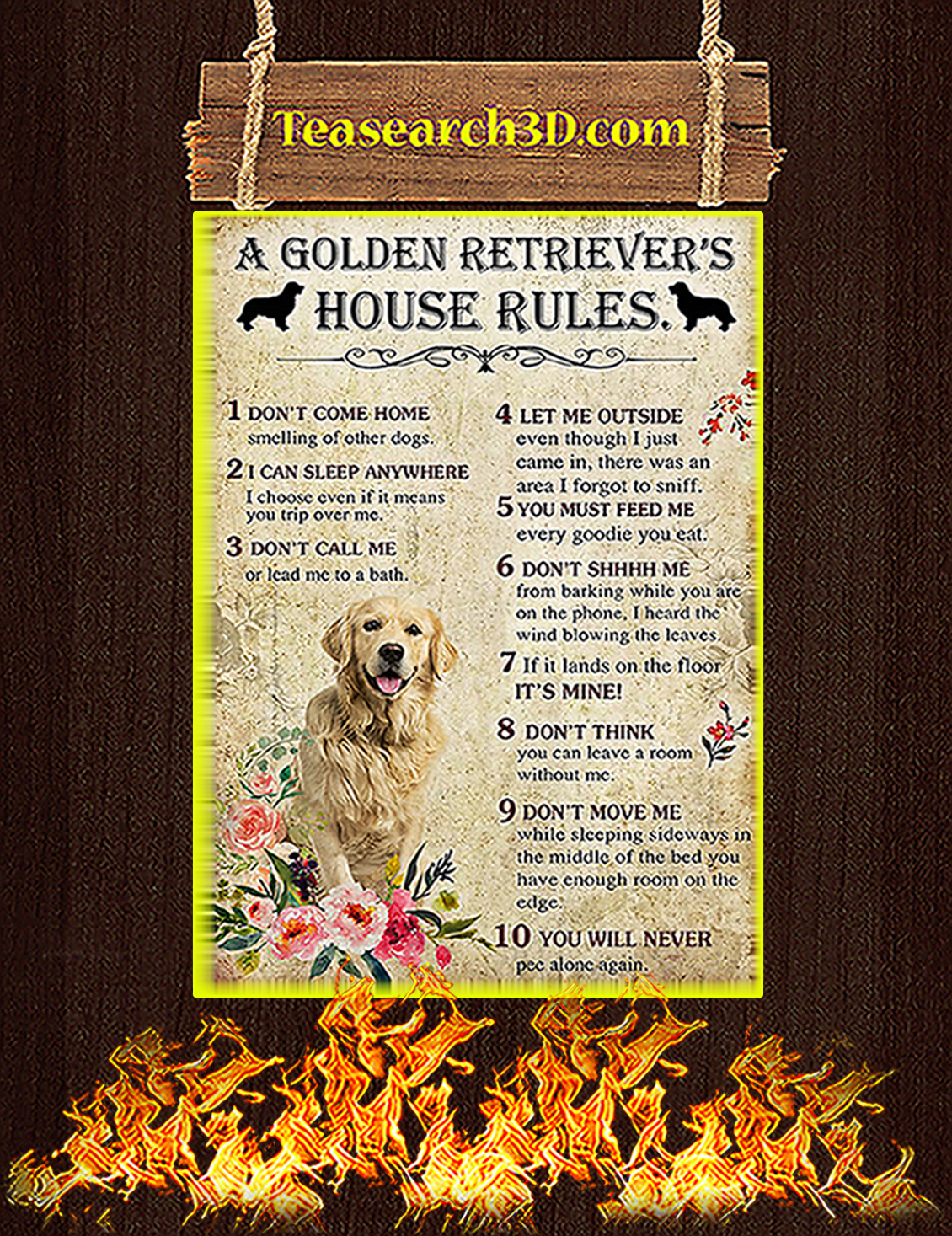 A Golden Retriever House Rules Poster A3