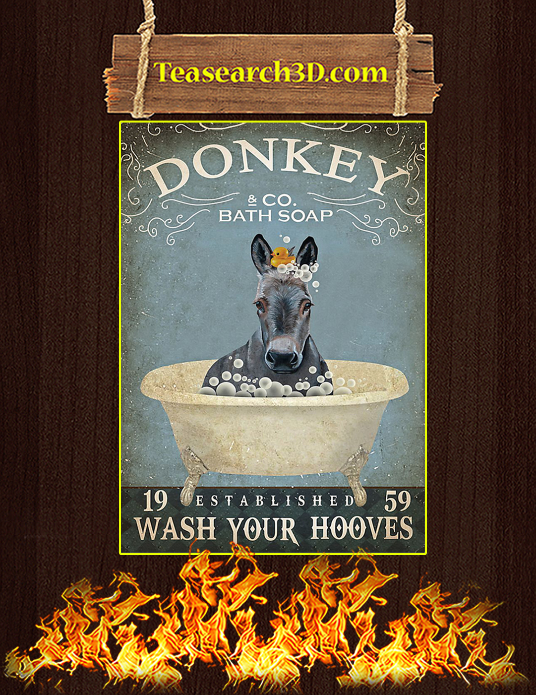Bath soap company donkey poster A2