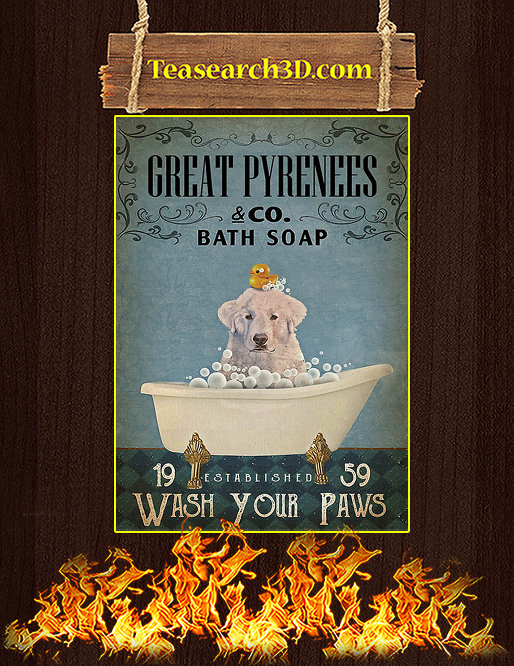 Bath soap company great pyrenees poster A1