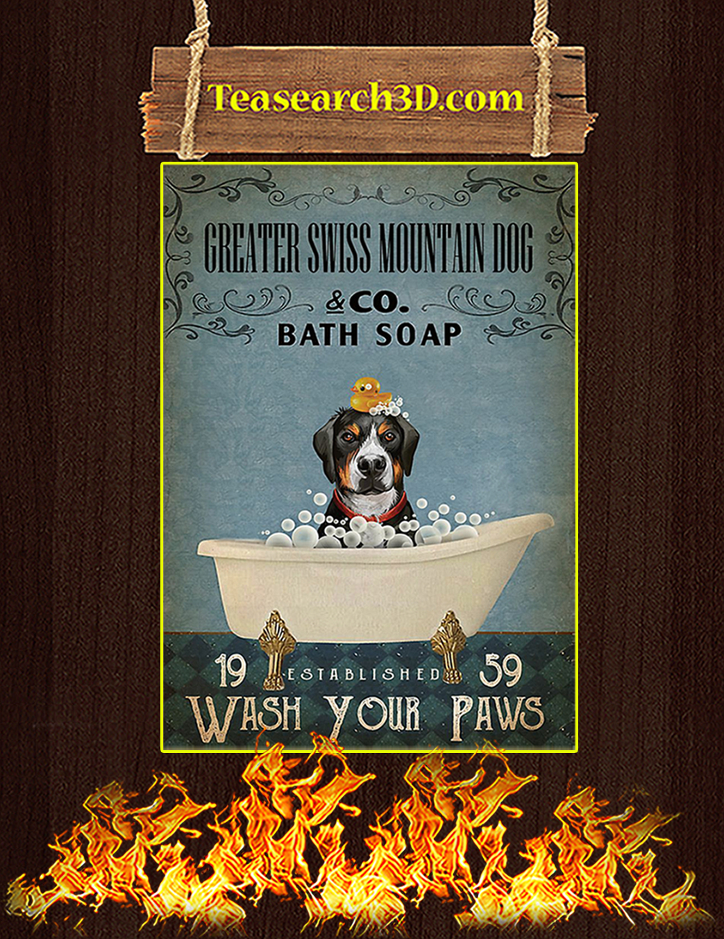 Bath soap company greater swiss mountain dog poster A1