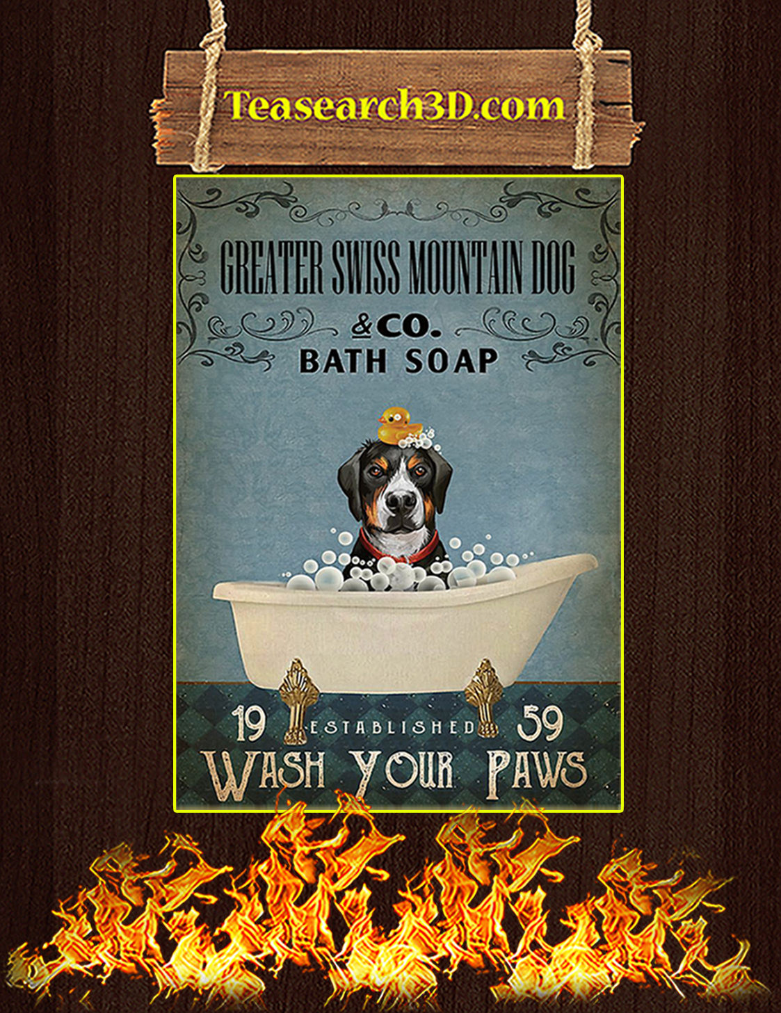 Bath soap company greater swiss mountain dog poster A3