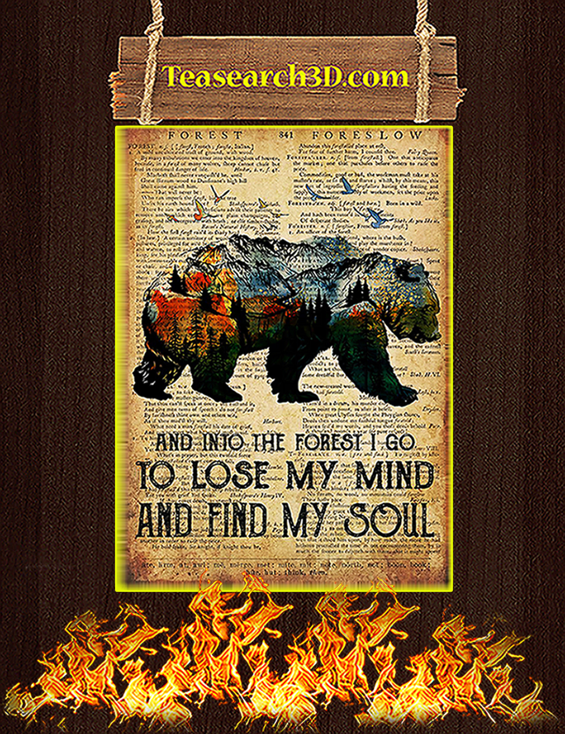 Bear Camping And Into The Forest Poster A3