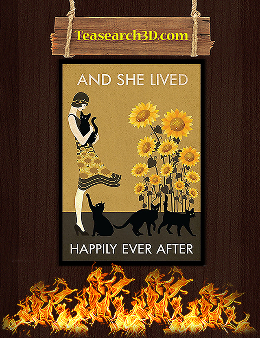 Black Cat And She Lived Happily Ever After Poster A2