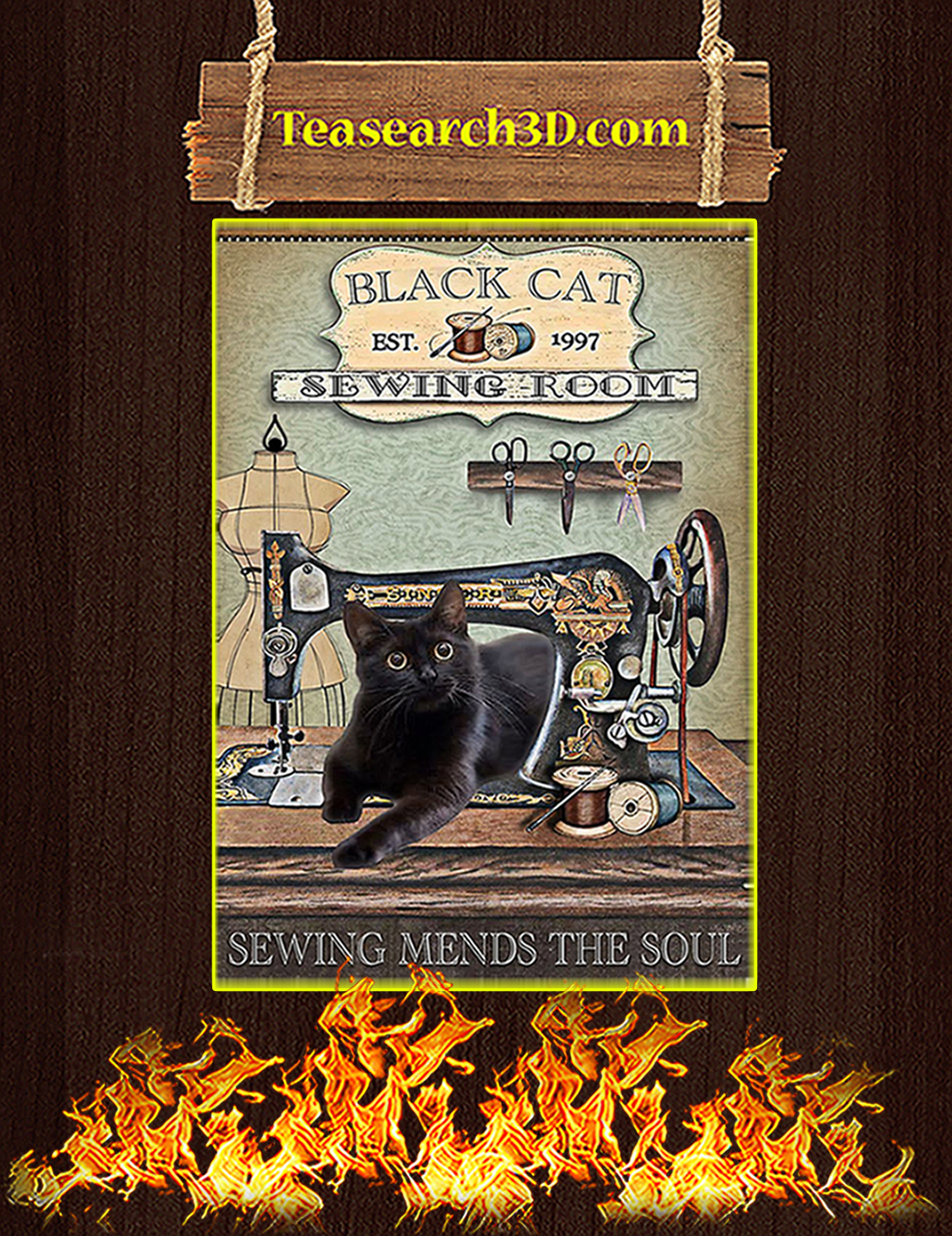 Black Cat Sewing Room Poster A1