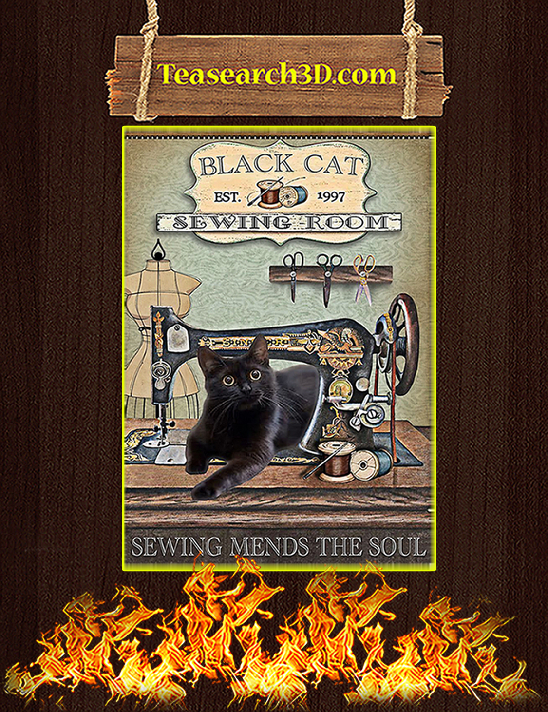 Black Cat Sewing Room Poster A3