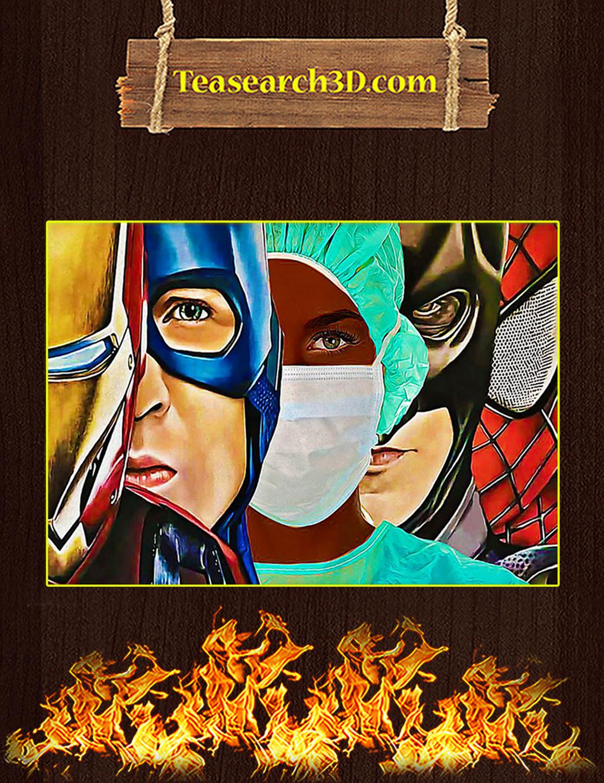 Black Nurse Superheroes Iron Man Poster A3