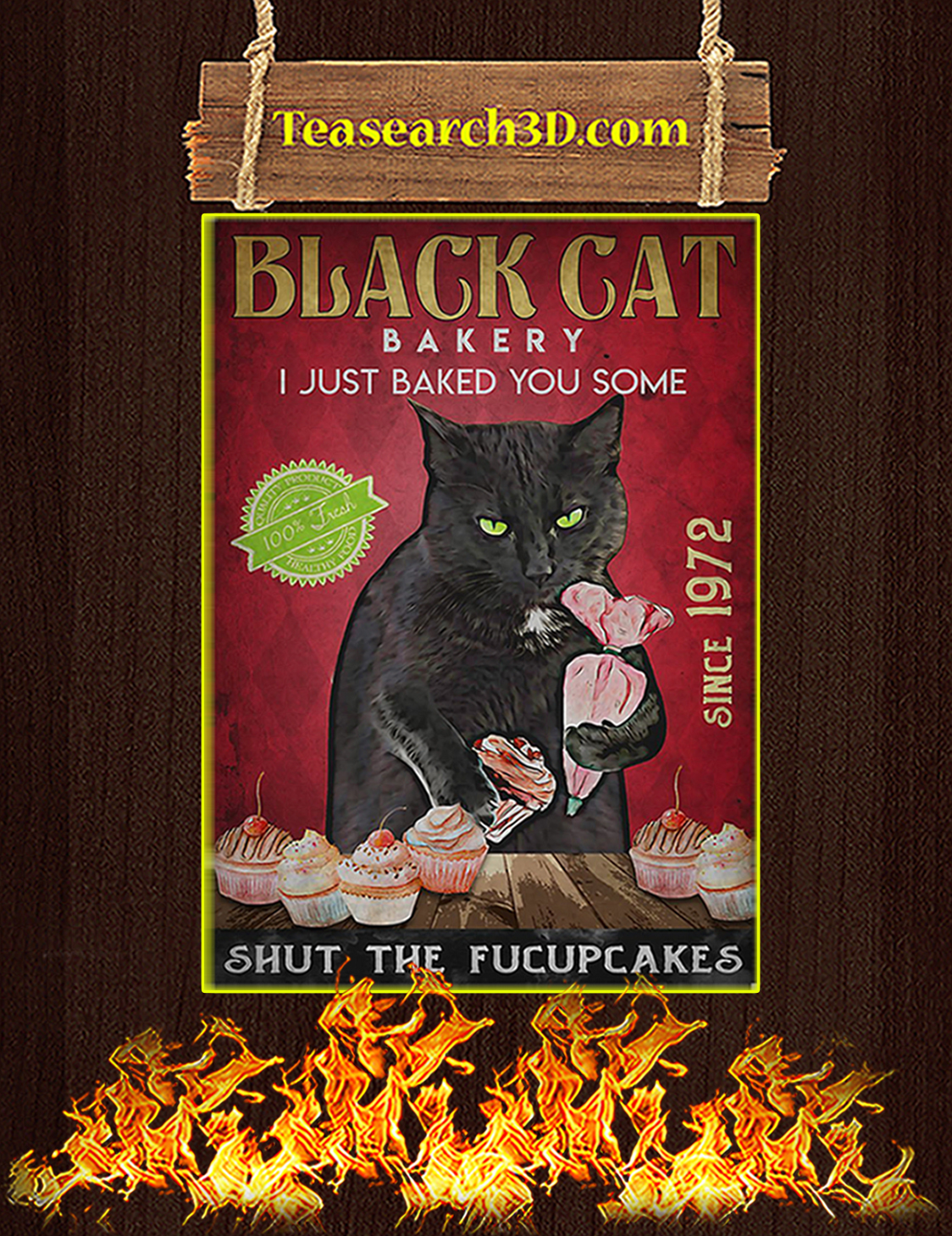 Black cat bakery I just baked you some poster A3