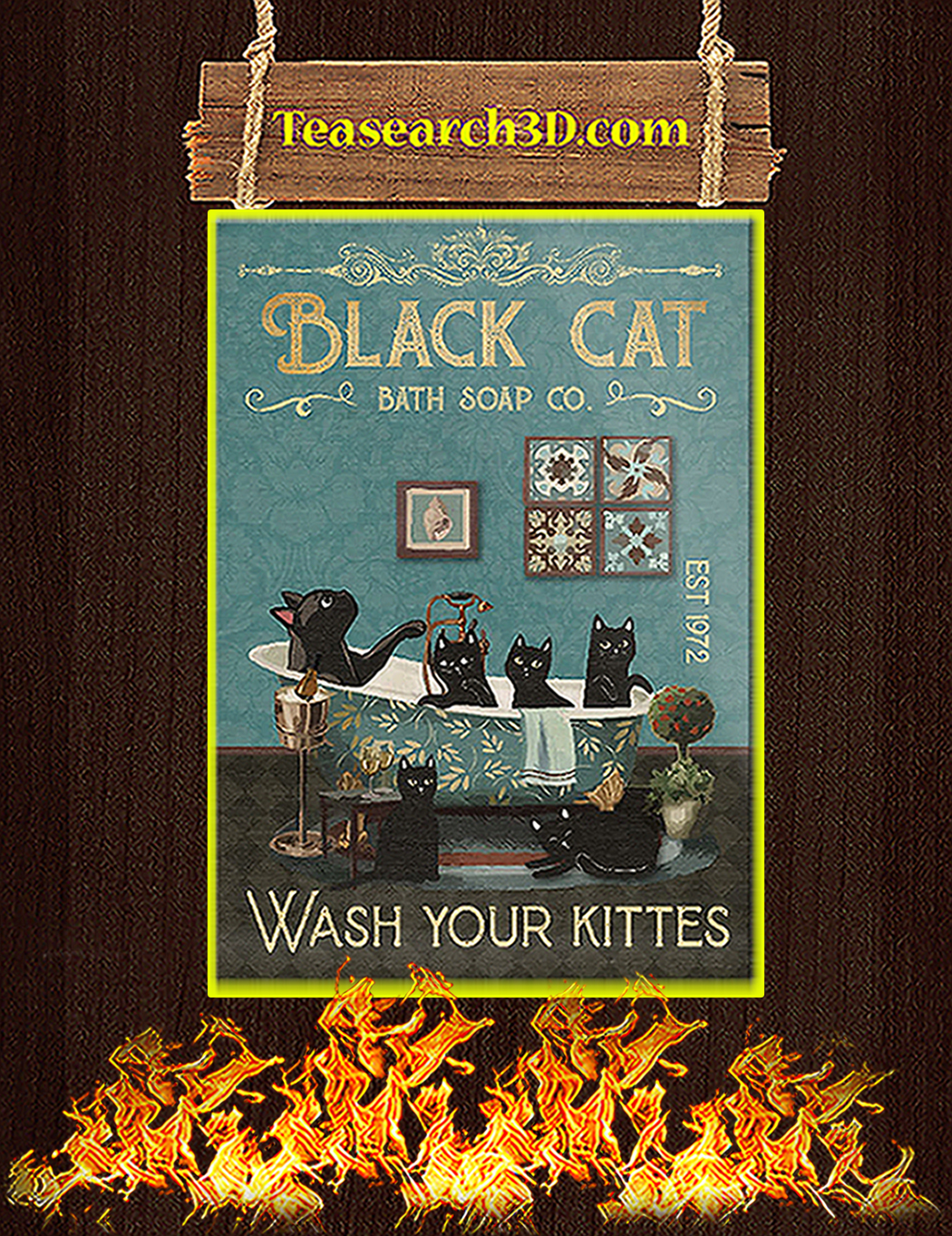 Black cat bath soap co wash your kittes poster A1